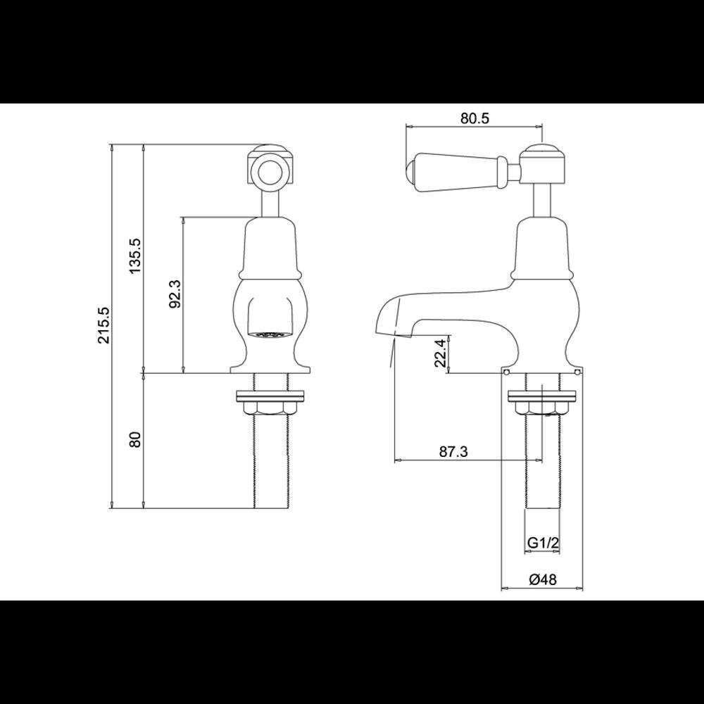 "BB Edwardian Kensington pillar tap cold with 3""-spout"