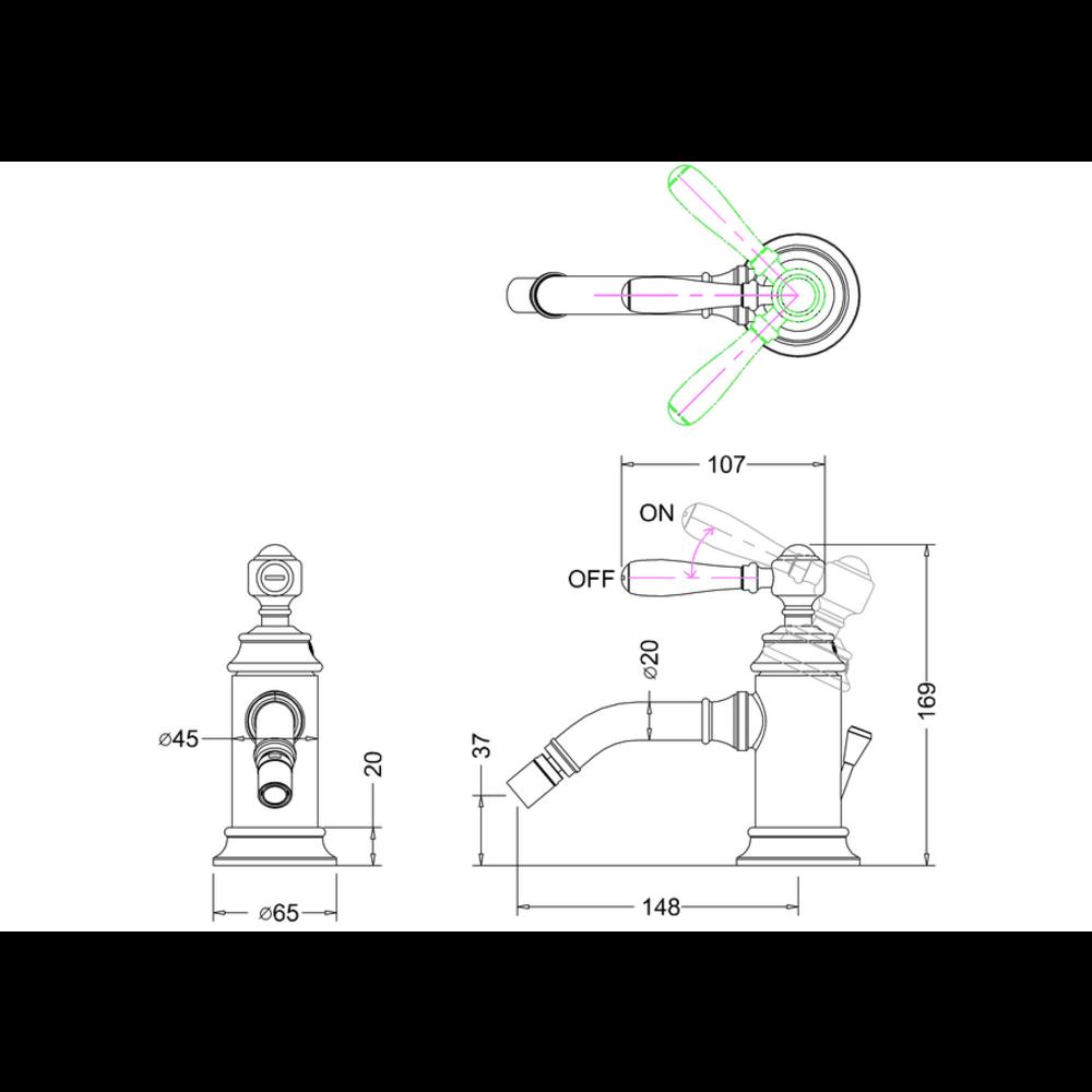 BB Arcade Lever 1-gats bidetmengkraan met hendel (ARC65 - ARC66 - ARC67) - met waste