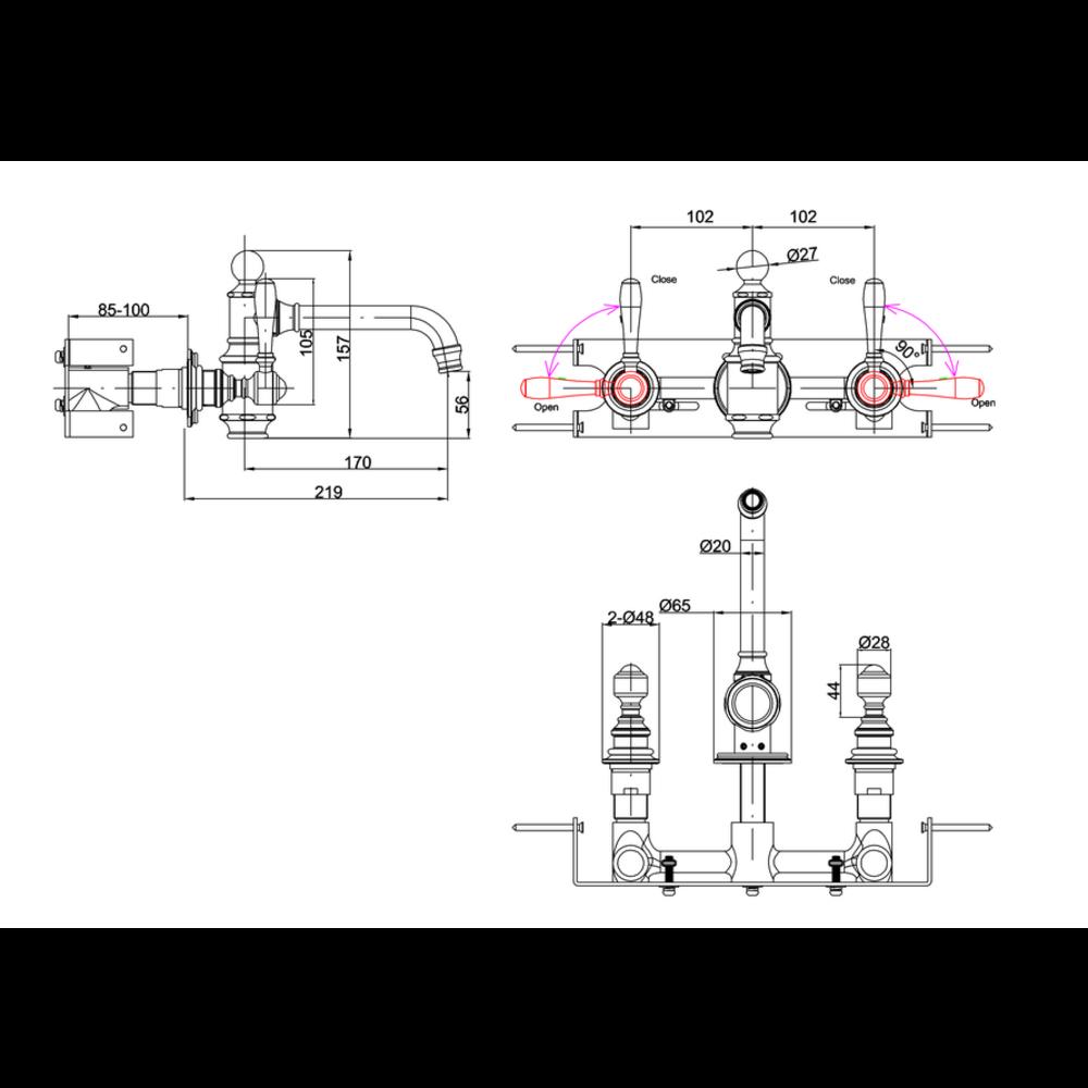 BB Arcade Lever 3-gats wastafelmengkraan met hendels (ARC65 - ARC66 - ARC67) - wandbevestiging