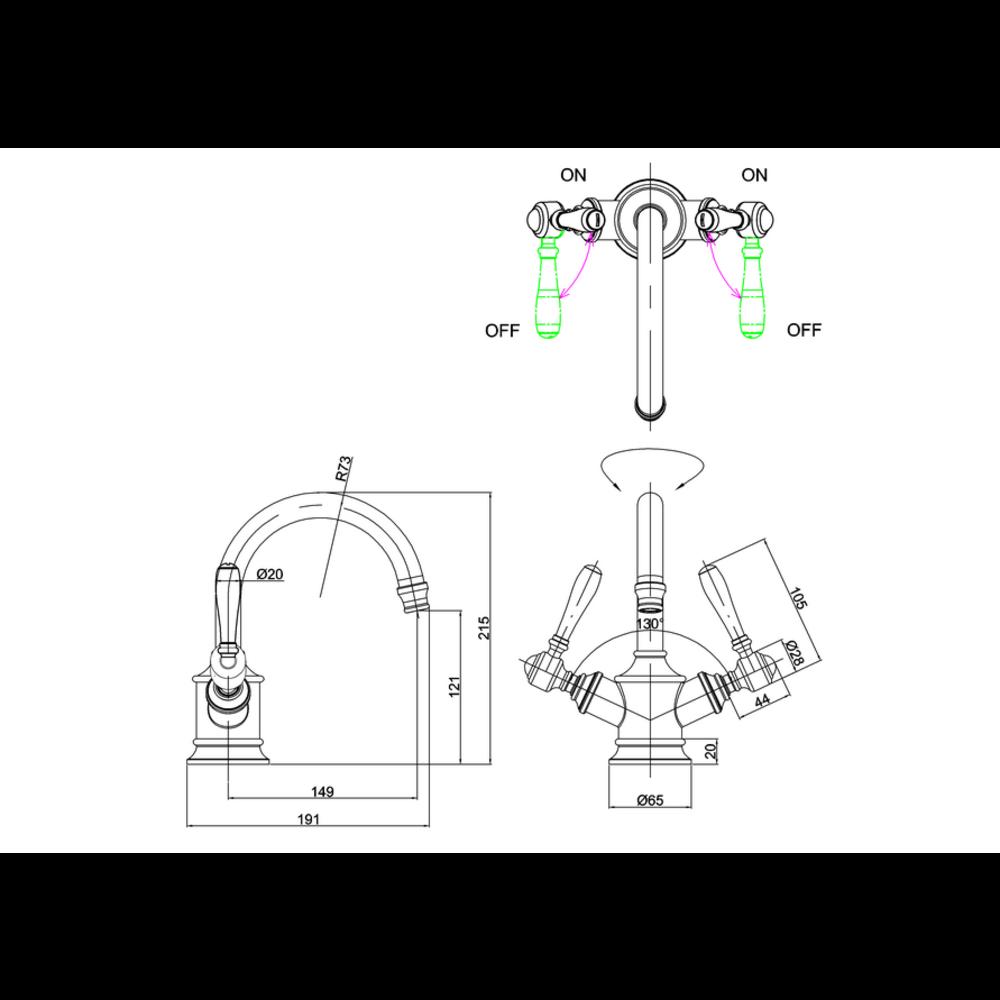 BB Arcade Lever 1-gats wastafelmengkraan met hendels - zonder waste