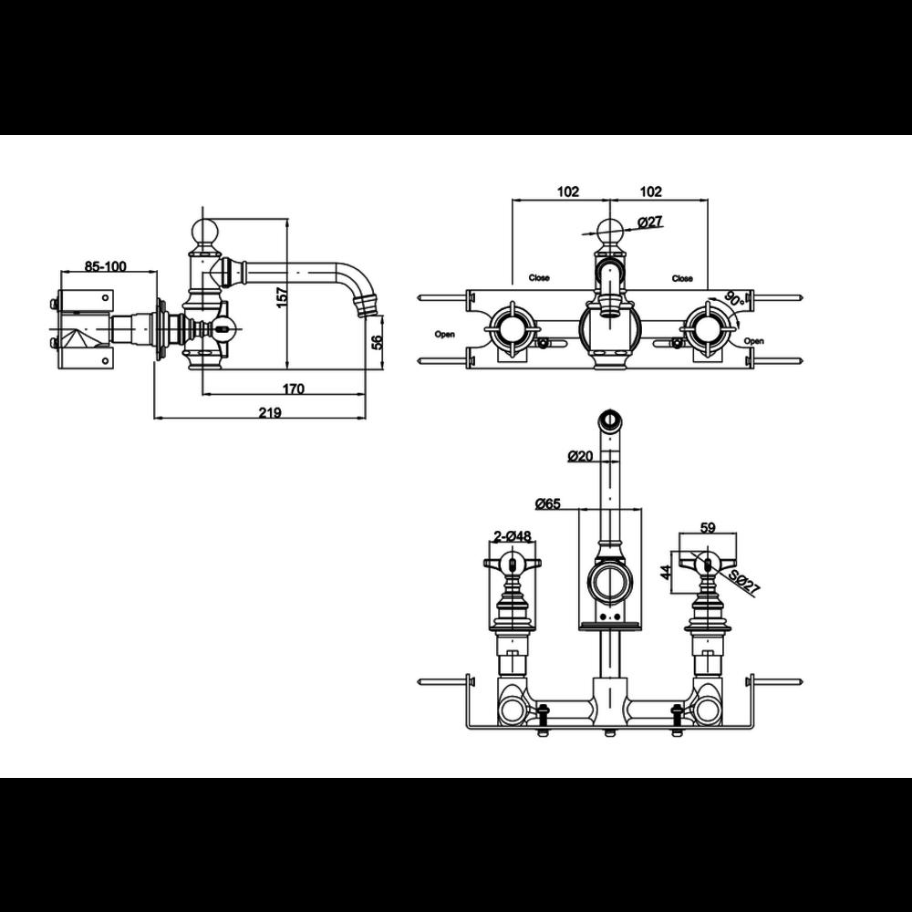 BB Arcade Cross 3-gats wastafelmengkraan met kruisgrepen - wandbevestiging