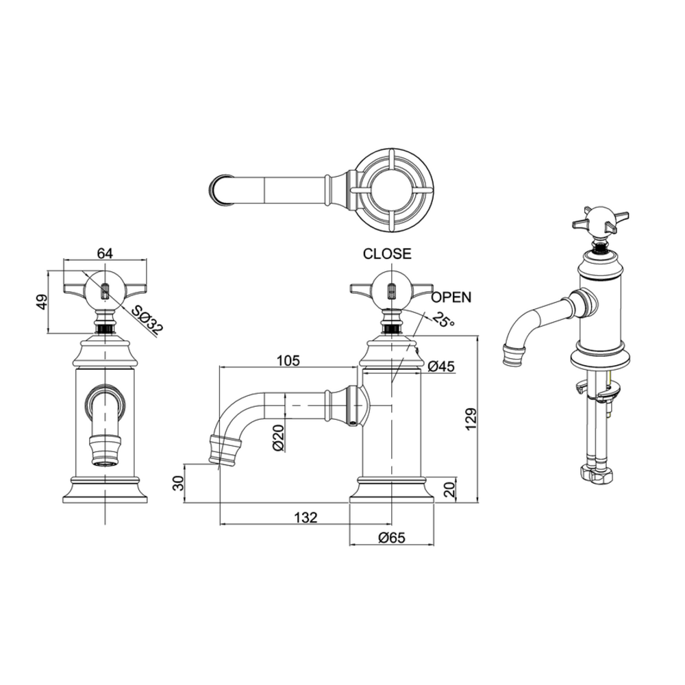 BB Arcade Cross 1-gats wastafelmengkraan met kruisgreep - zonder waste
