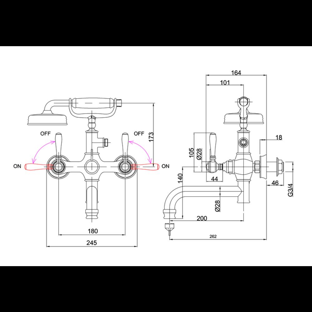 BB Arcade Lever Arcade Lever badmengkraan met handdouche - wandbevestiging - met hendel (ARC65 - ARC66 - ARC67)