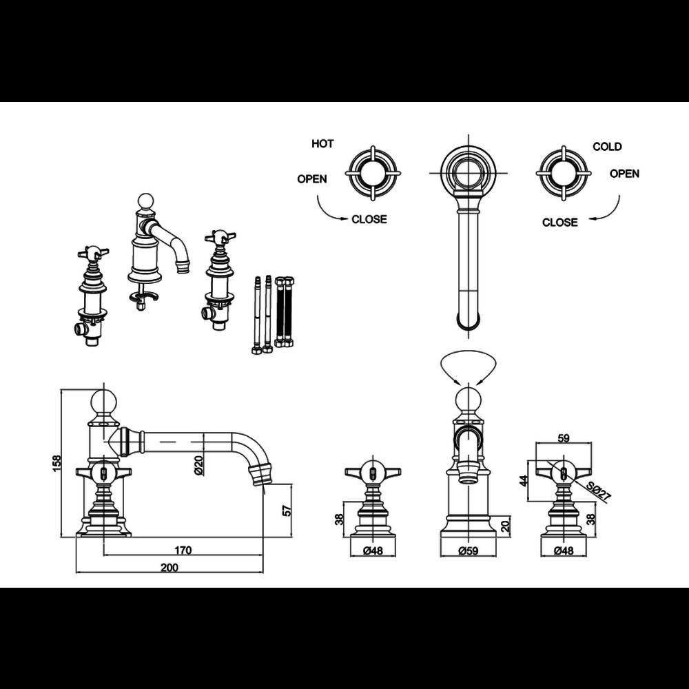 BB Arcade Cross 3-gats wastafelmengkraan met kruisgrepen - zonder waste