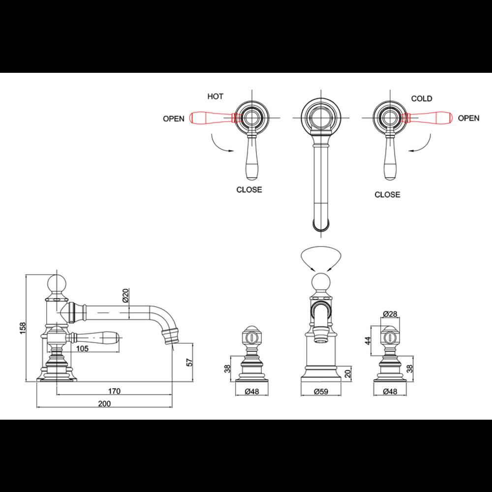 BB Arcade Lever 3-gats wastafelmengkraan met hendels - zonder waste