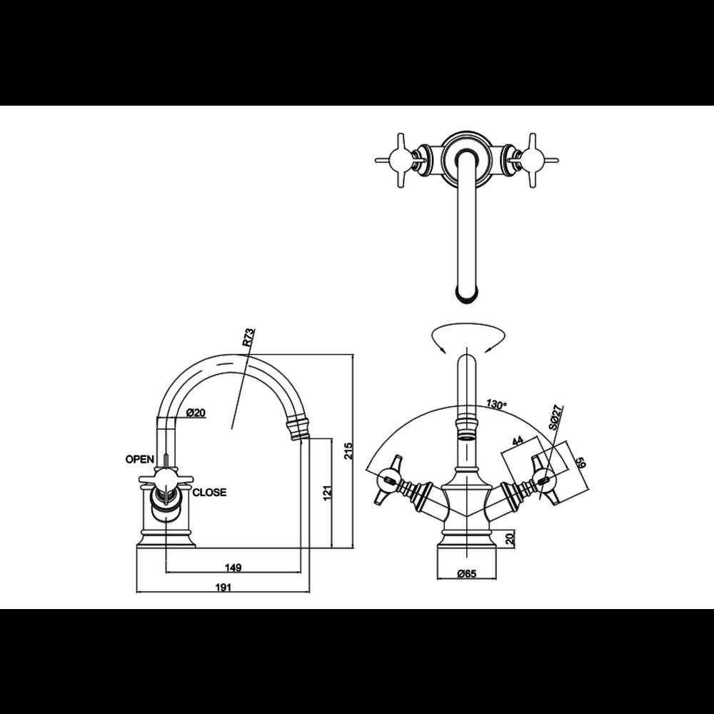 BB Arcade Cross 1-gats wastafelmengkraan met kruisgrepen - zonder waste