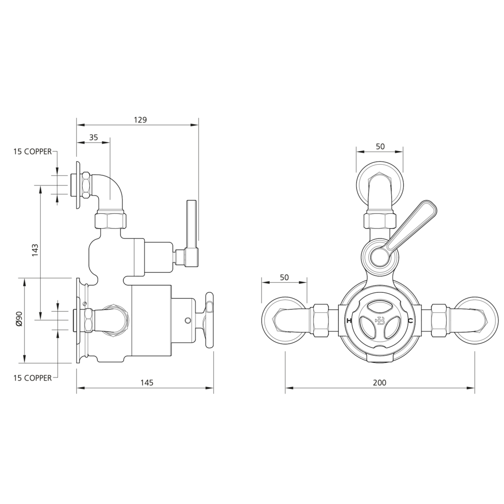 Lefroy Brooks 1920 Ten Ten LB1920 Ten ten exposed single control thermostatic shower valve TTE-8725