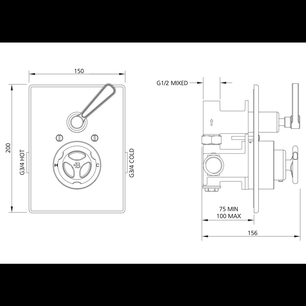Lefroy Brooks 1920 Ten Ten LB1920 Ten Ten inbouw douchethermostaat met stopkraan TT-8706
