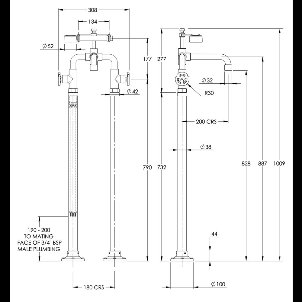 Lefroy Brooks 1920 Ten Ten LB1920 Ten Ten free standing bath shower mixer with handwheels and floor legs TH-1044