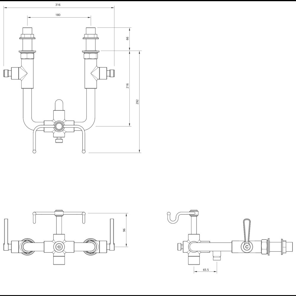 Lefroy Brooks 1920 Ten Ten LB1920 Ten Ten wall mounted bath shower mixer with levers TL-1161