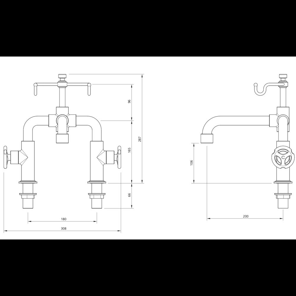 Lefroy Brooks 1920 Ten Ten LB1920 Ten Ten deck mounted bath shower mixer with handwheels TH-1110