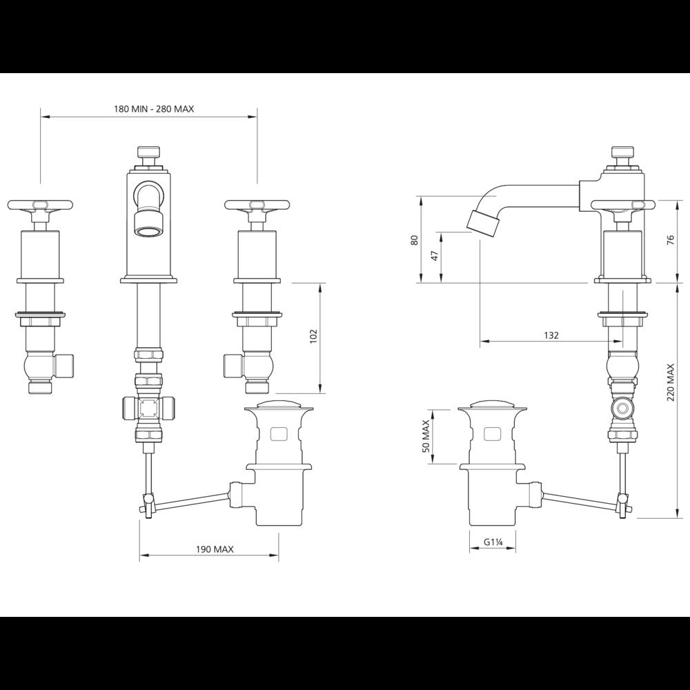 Lefroy Brooks 1920 Ten Ten LB1920 Ten Ten 3-hole basin mixer with handwheels TH-1233