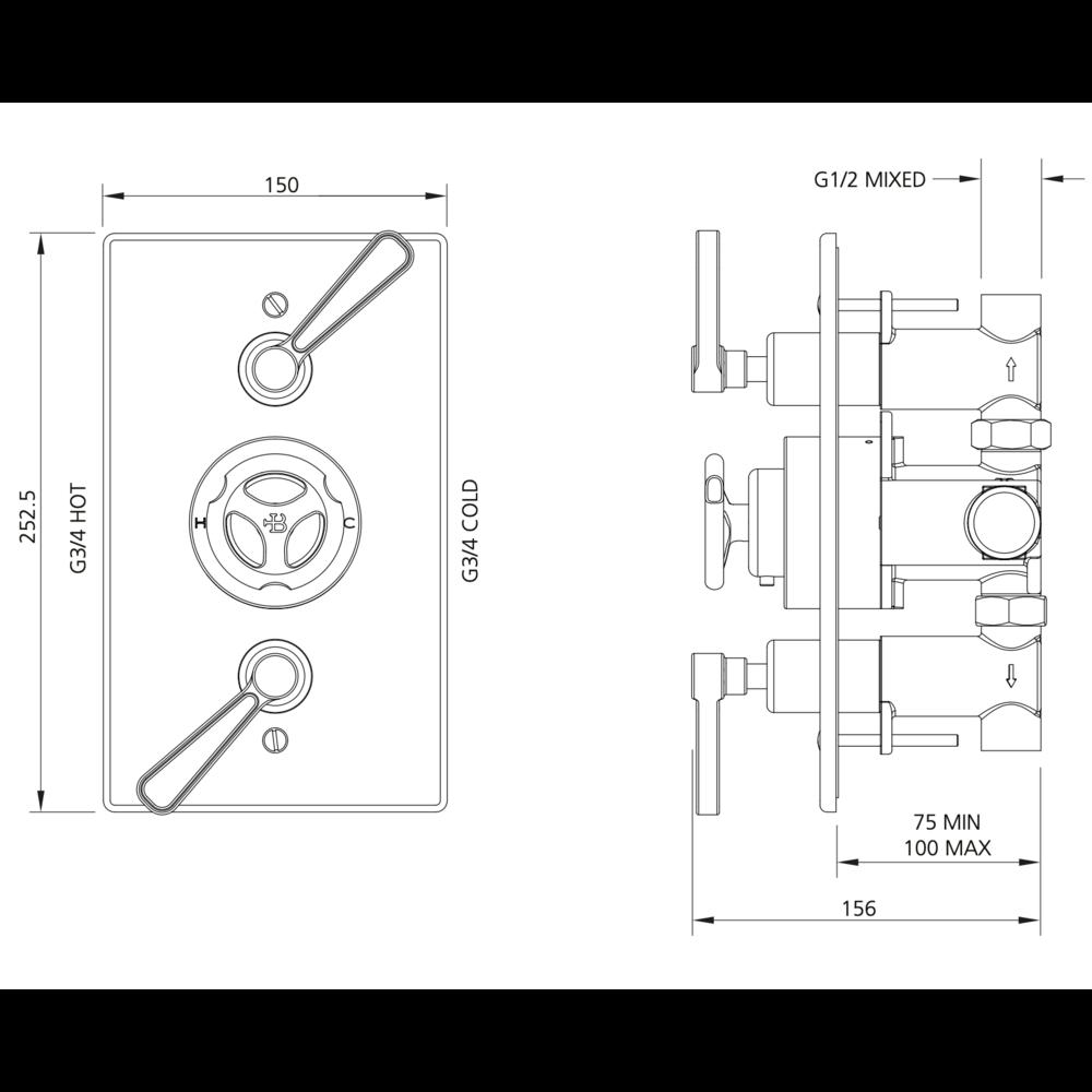 Lefroy Brooks 1920 Ten Ten LB1920 Ten Ten inbouw douchethermostaat met 2 stopkranen TT-8736