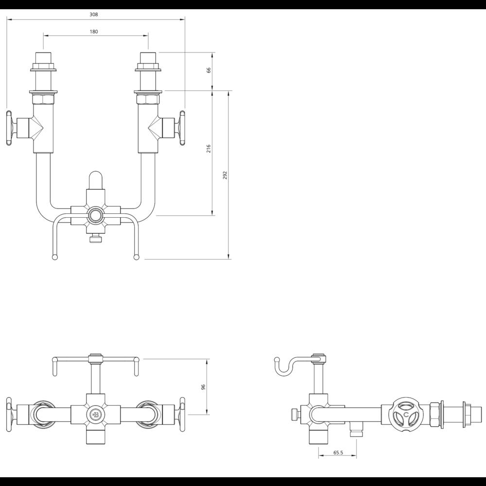 Lefroy Brooks 1920 Ten Ten LB1920 Ten Ten wall mounted bath shower mixer with handwheels TH-1161