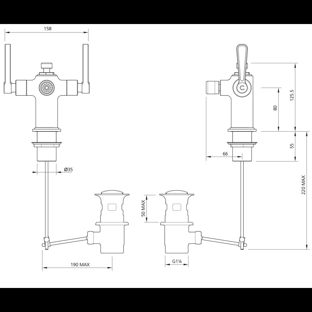 Lefroy Brooks 1920 Ten Ten LB1920 Ten Ten bidet mixer with levers TL-1198