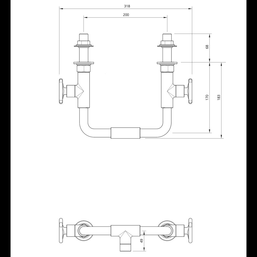 Lefroy Brooks 1920 Ten Ten LB1920 Ten Ten wall mounted basin bridge mixer with handwheels TH-9005