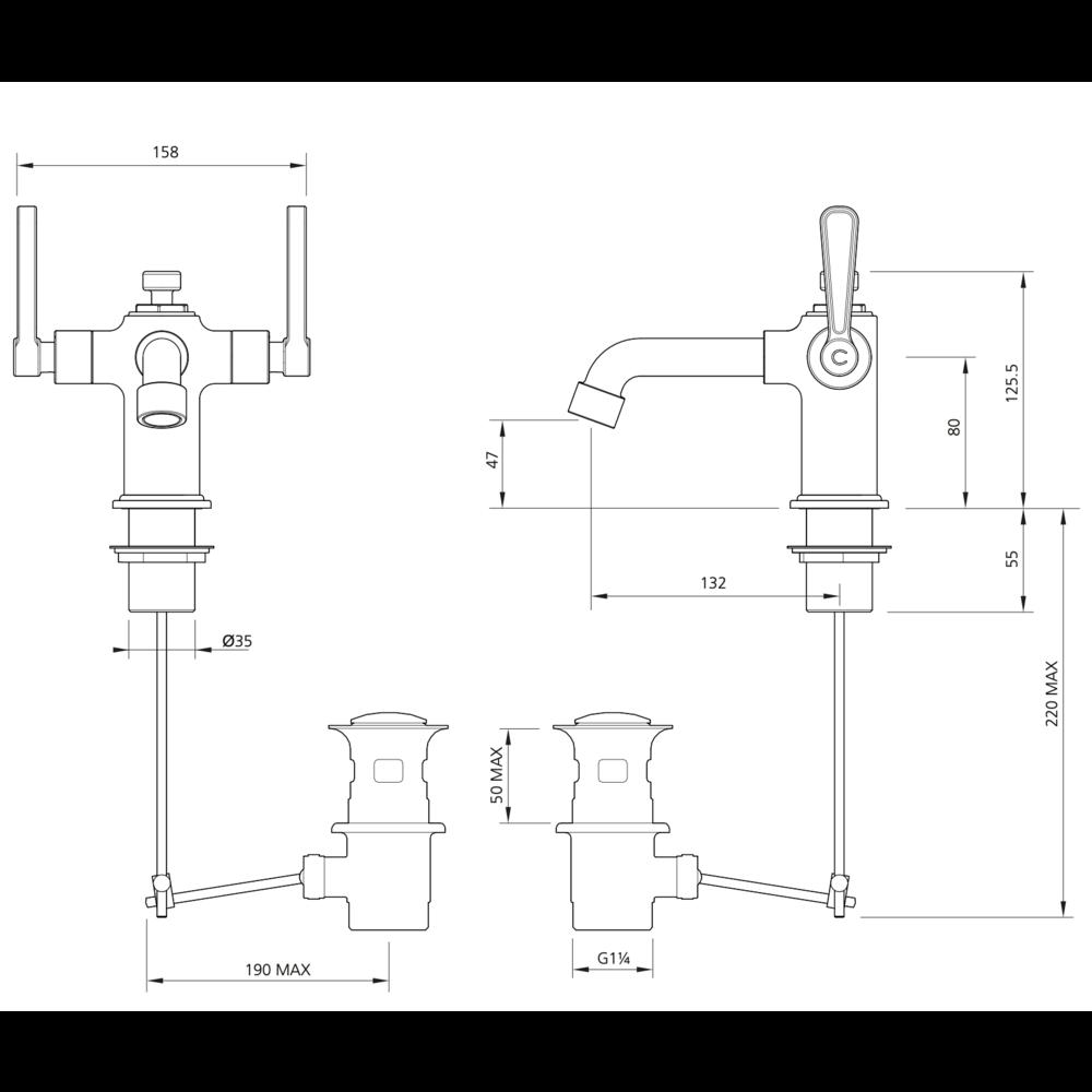 Lefroy Brooks 1920 Ten Ten LB1920 Ten Ten monobloc basin mixer with levers TL-1188