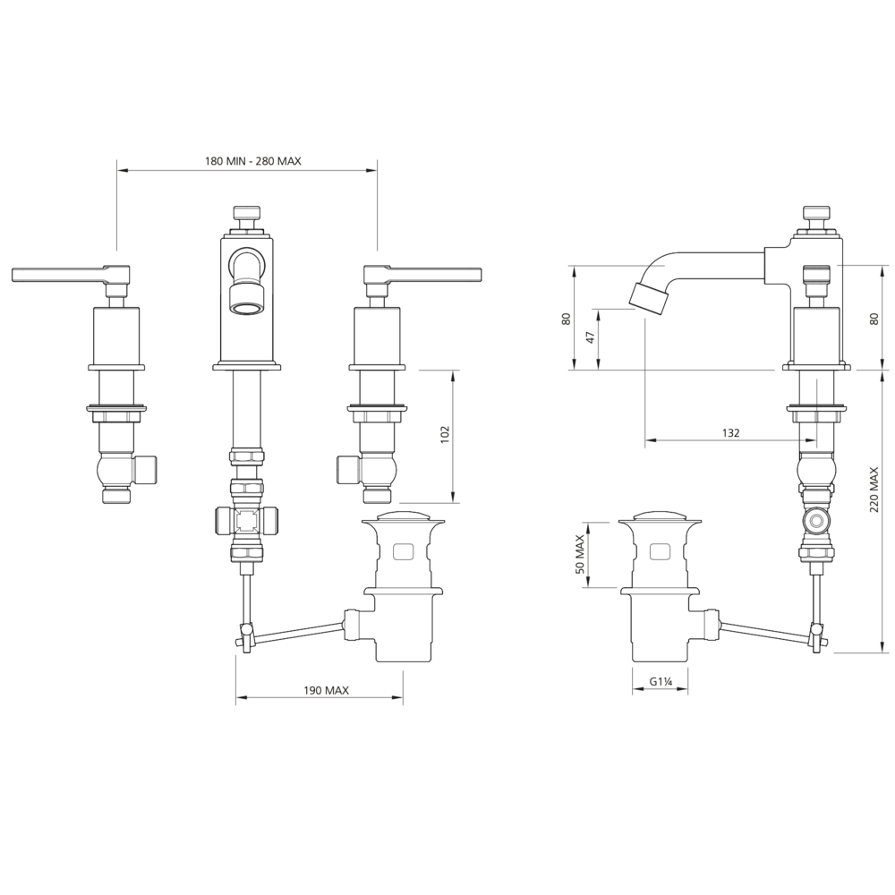 Lefroy Brooks 1920 Ten Ten LB1920 Ten Ten 3-hole basin mixer with levers TL-1233