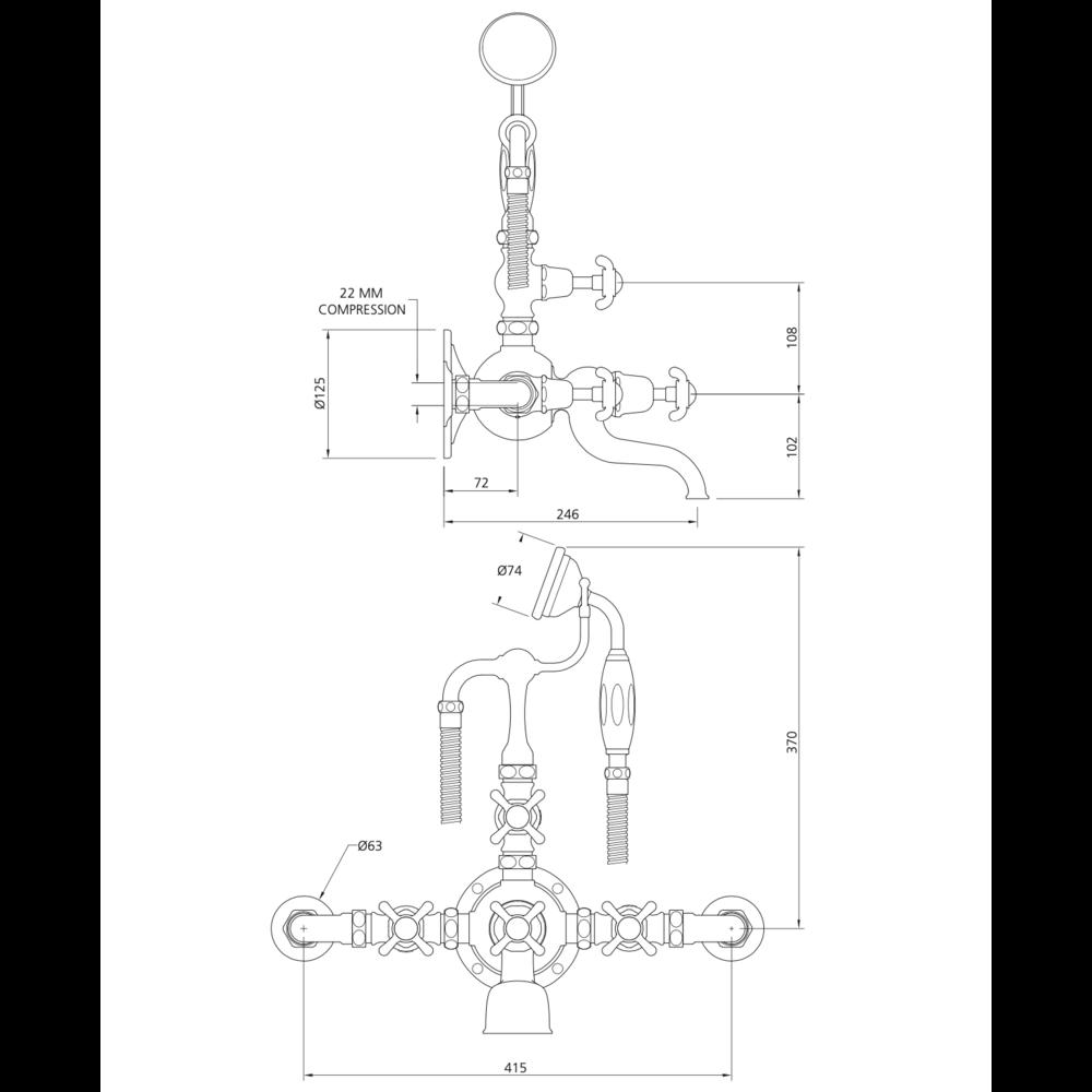 Lefroy Brooks 1910 La Chapelle LB1910 La Chapelle wall mounted bath shower mixer with crosshead FH-1146