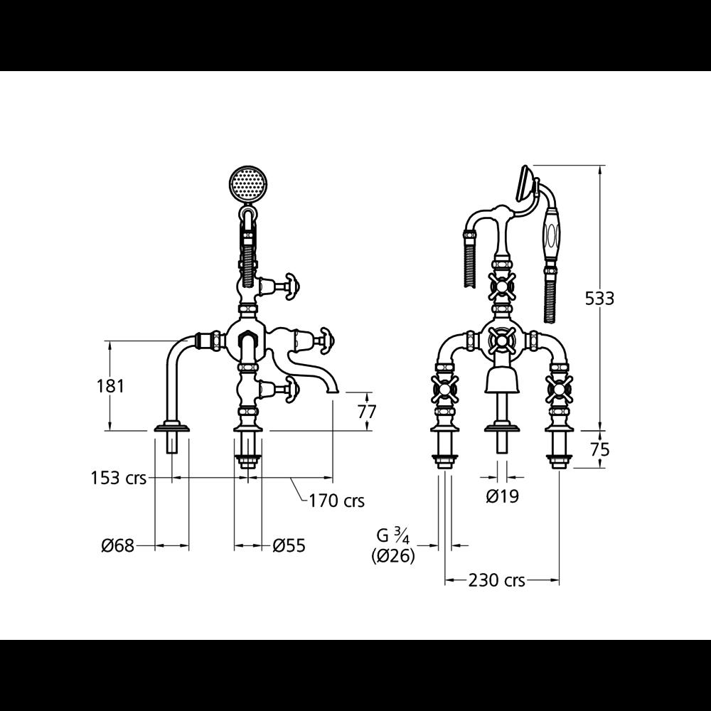 Lefroy Brooks 1910 La Chapelle LB1910 La Chapelle deck mounted bath shower mixer with crosshead FH-1140