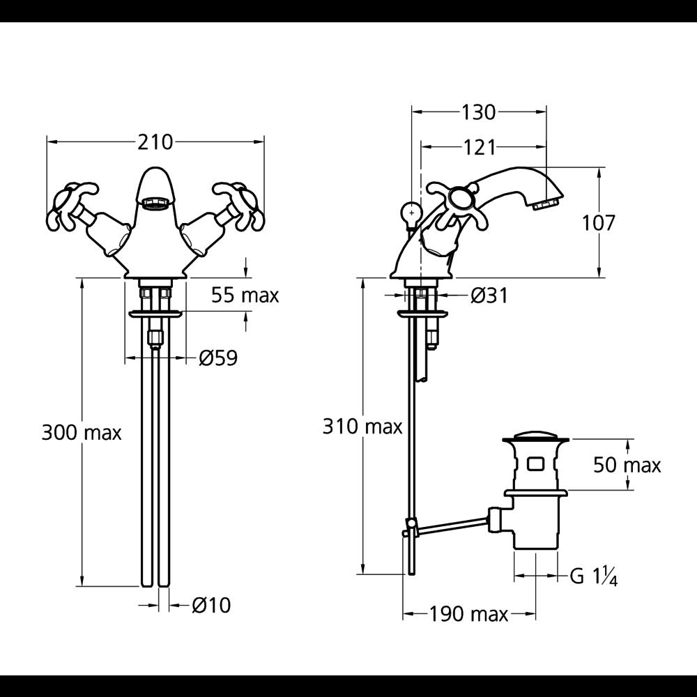 Lefroy Brooks 1910 La Chapelle LB1910 La Chapelle monobloc basin mixer with crosshead handles FH-1189