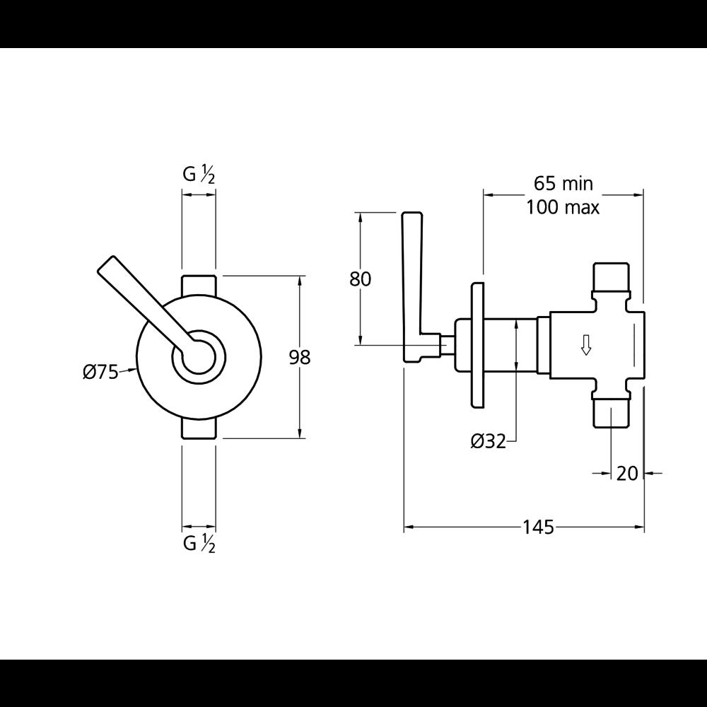 Lefroy Brooks 1930 Mackintosh LB1930 Mackintosh concealed wall valve with lever ML-5000