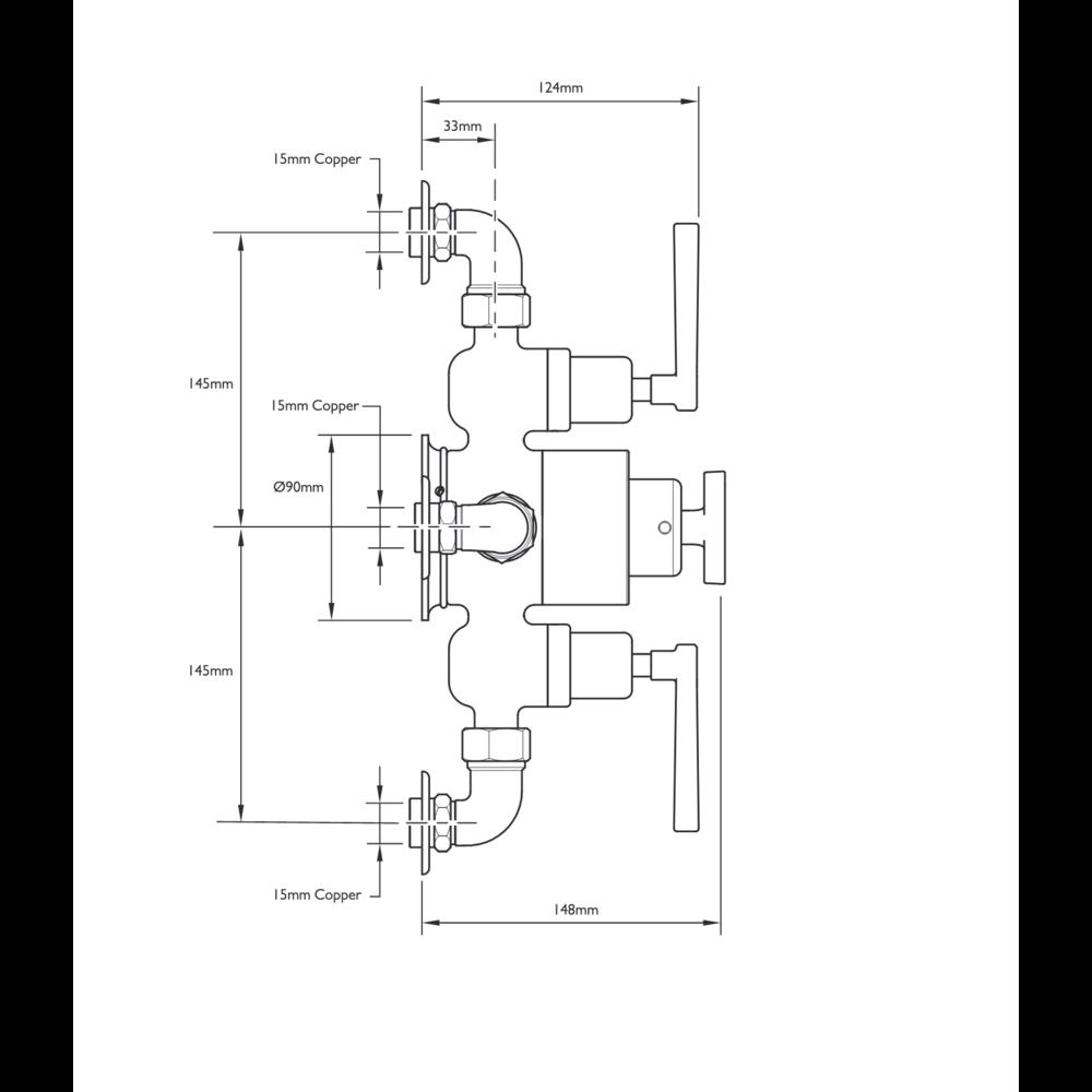 Lefroy Brooks 1930 Mackintosh LB1930 Mackintosh opbouw douchethermostaat met 2  stopkranen MBE-8746