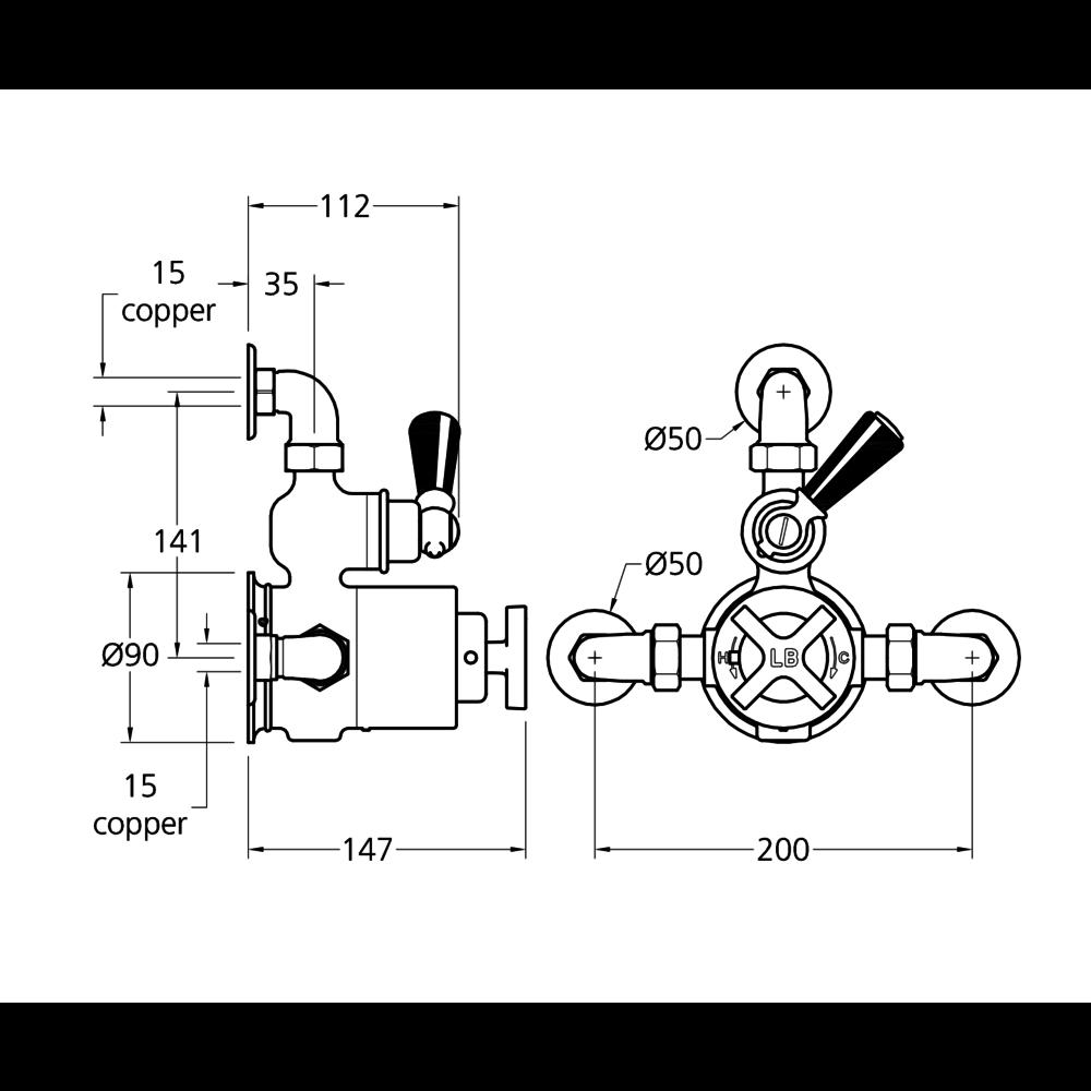 Lefroy Brooks 1930 Mackintosh LB1930 Mackintosh opbouw douchethermostaat met stopkraan MKE-8725