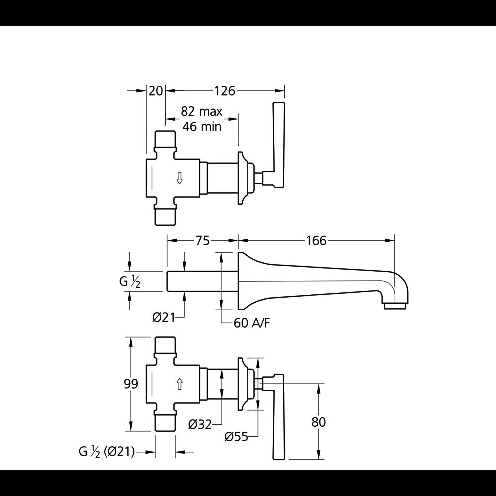 Lefroy Brooks 1930 Mackintosh LB1930 Mackintosh 3-hole wall mounted basin mixer with lever handles ML-1220