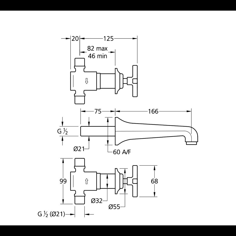 Lefroy Brooks 1930 Mackintosh LB1930 Mackintosh 3-hole wall mounted basin mixer with crosshead handles MH-1220