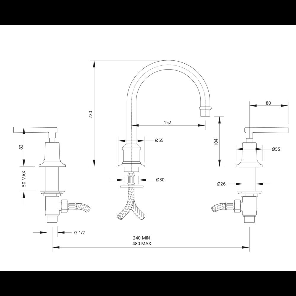 Lefroy Brooks 1930 Mackintosh LB1930 Mackintosh 3-hole tubular basin mixer with lever handles ML-1230