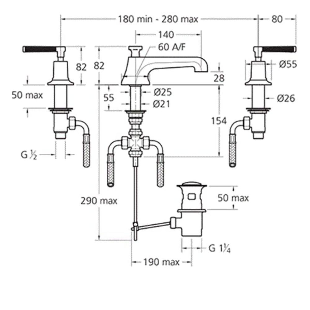 Lefroy Brooks 1930 Mackintosh LB1930 Mackintosh 3-hole basin mixer with black lever handles MB-1228