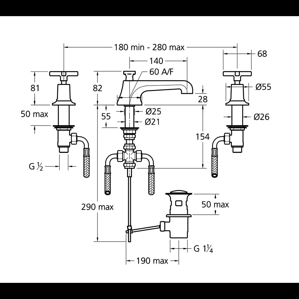Lefroy Brooks 1930 Mackintosh LB1930 Mackintosh 3-hole basin mixer with crosshead handles MH-1228