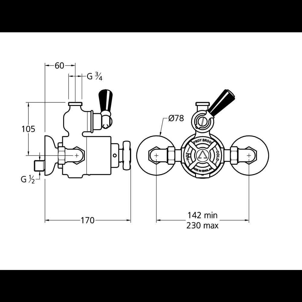 "Lefroy Brooks 1900 Classic Black LB1900 Classic Black Godolphin opbouw douche-set met 8"" douchekop en handdouche BLE-8704"