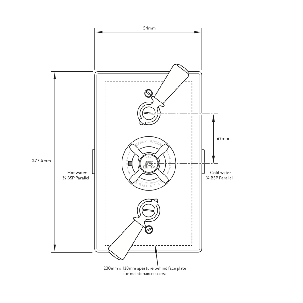 Lefroy Brooks 1900 Classic Black LB1900 Classic Black inbouw douchethermostaat  met 2 stopkranen BL-8736