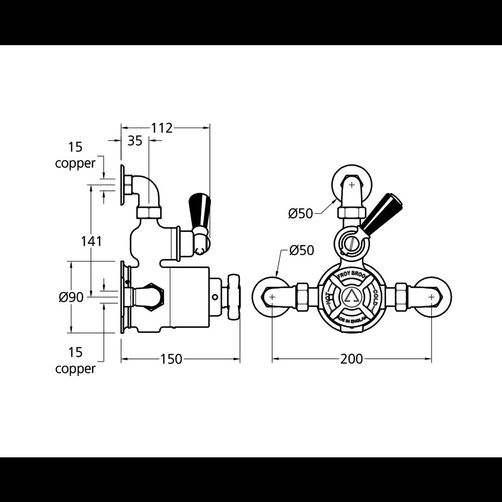 Lefroy Brooks 1900 Classic Black LB1900 Classic Black exposed thermostatic shower valve BLE-8725