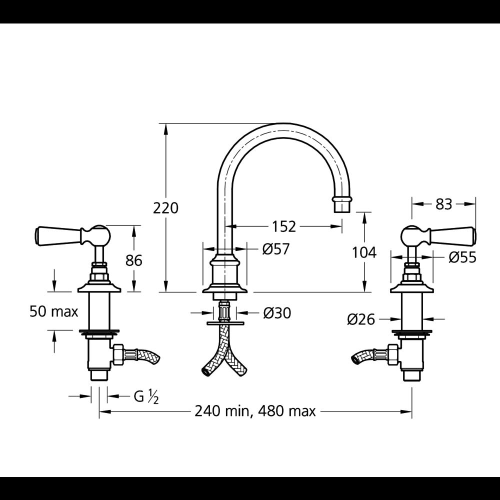 Lefroy Brooks 1900 Classic Black LB1900 Classic Black tubular 3-hole basin mixer with lever handles BL-1230