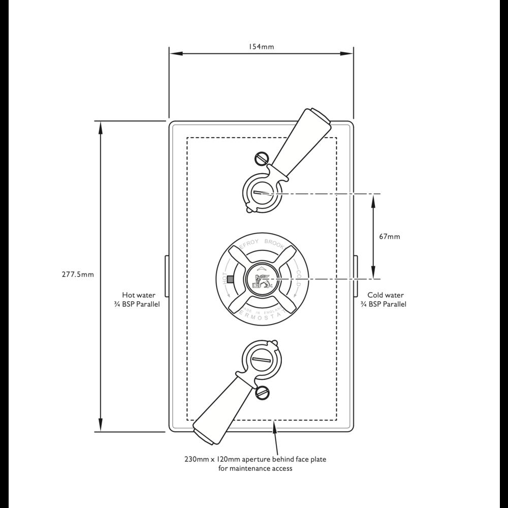 Lefroy Brooks 1900 Classic LB1900 Classic inbouw douchethermostaat  met 2 stopkranen GD-8736