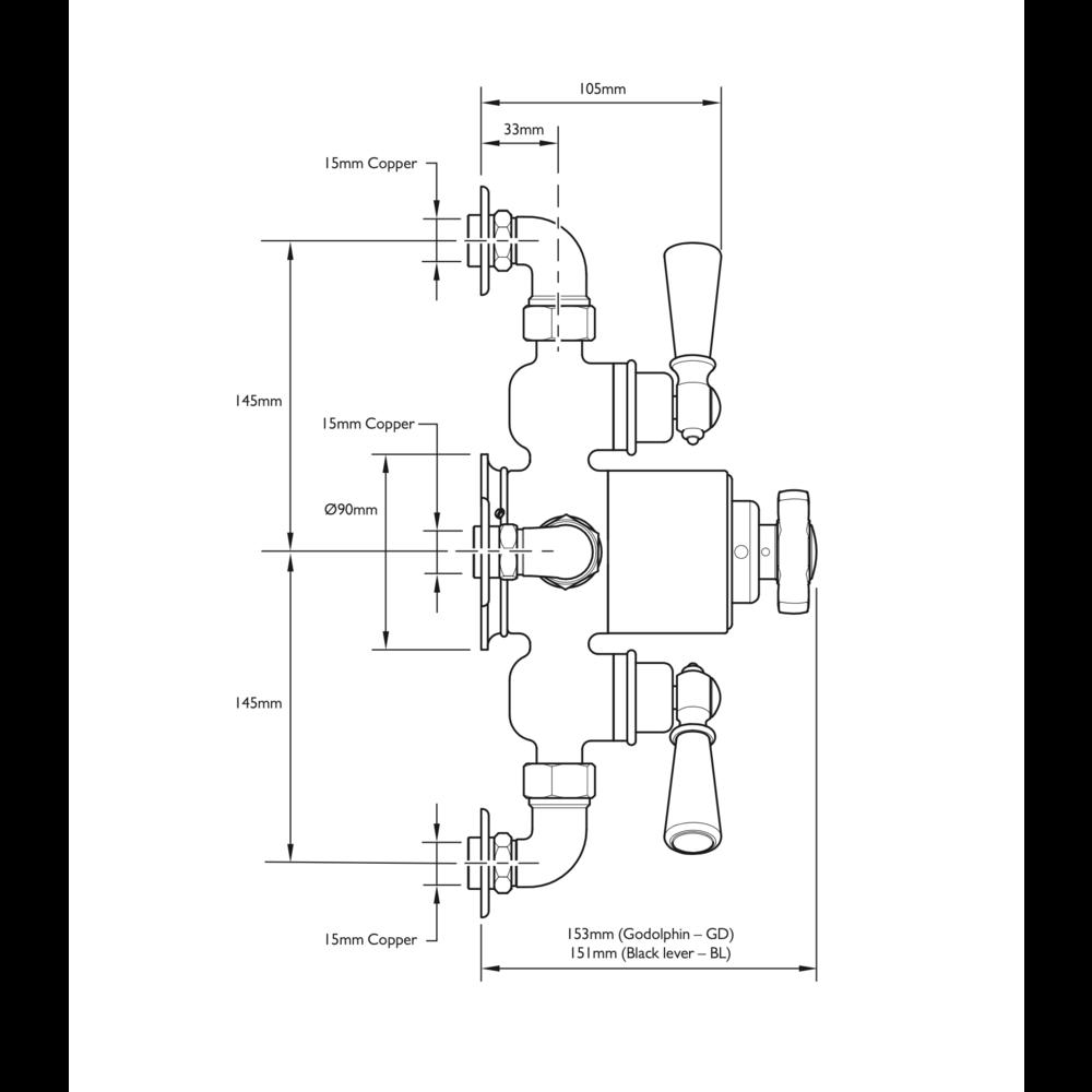 Lefroy Brooks 1900 Classic LB1900 Classic opbouw douchethermostaat Godolphin met 2 stopkranen GDE-8746