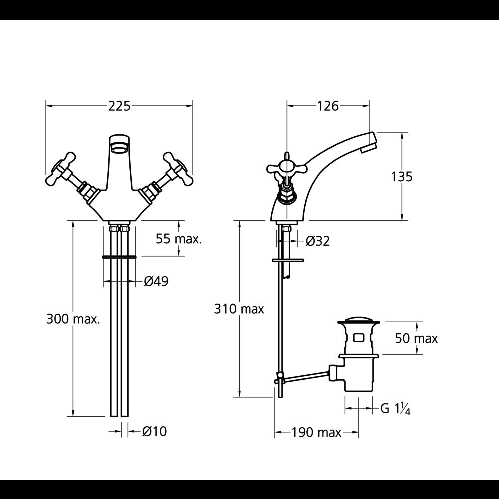 Lefroy Brooks 1900 Classic LB1900 Classic monobloc basin mixer with crosshead handles LB-1185