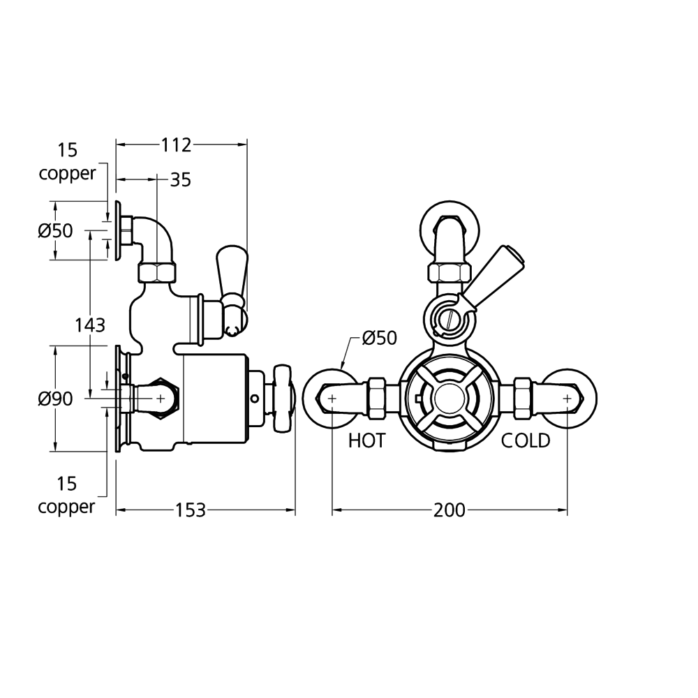 Lefroy Brooks 1900 Classic LB1900 Classic Archipelago exposed thermostatic shower valve GDE-8725