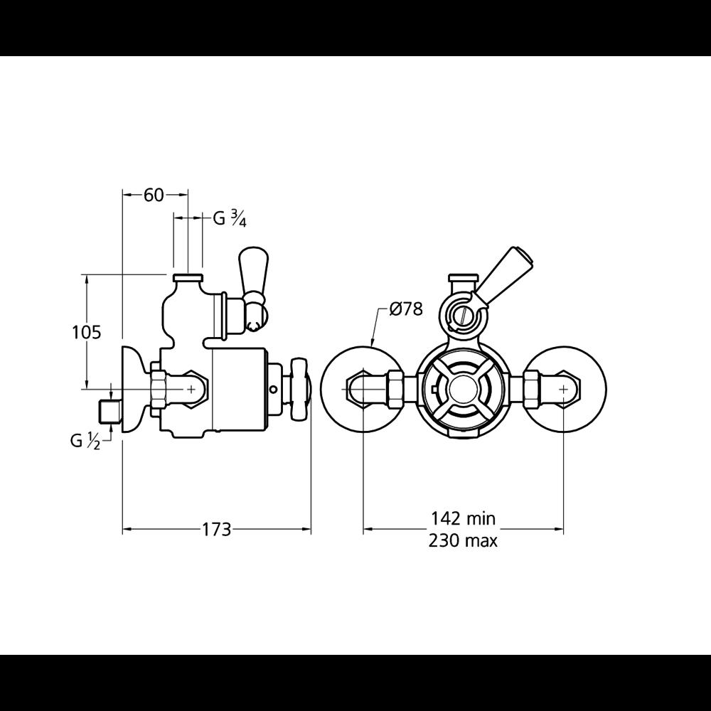 Lefroy Brooks 1900 Classic LB1900 Classic opbouw douchethermostaat Godolphin met stopkraan GDE-8725