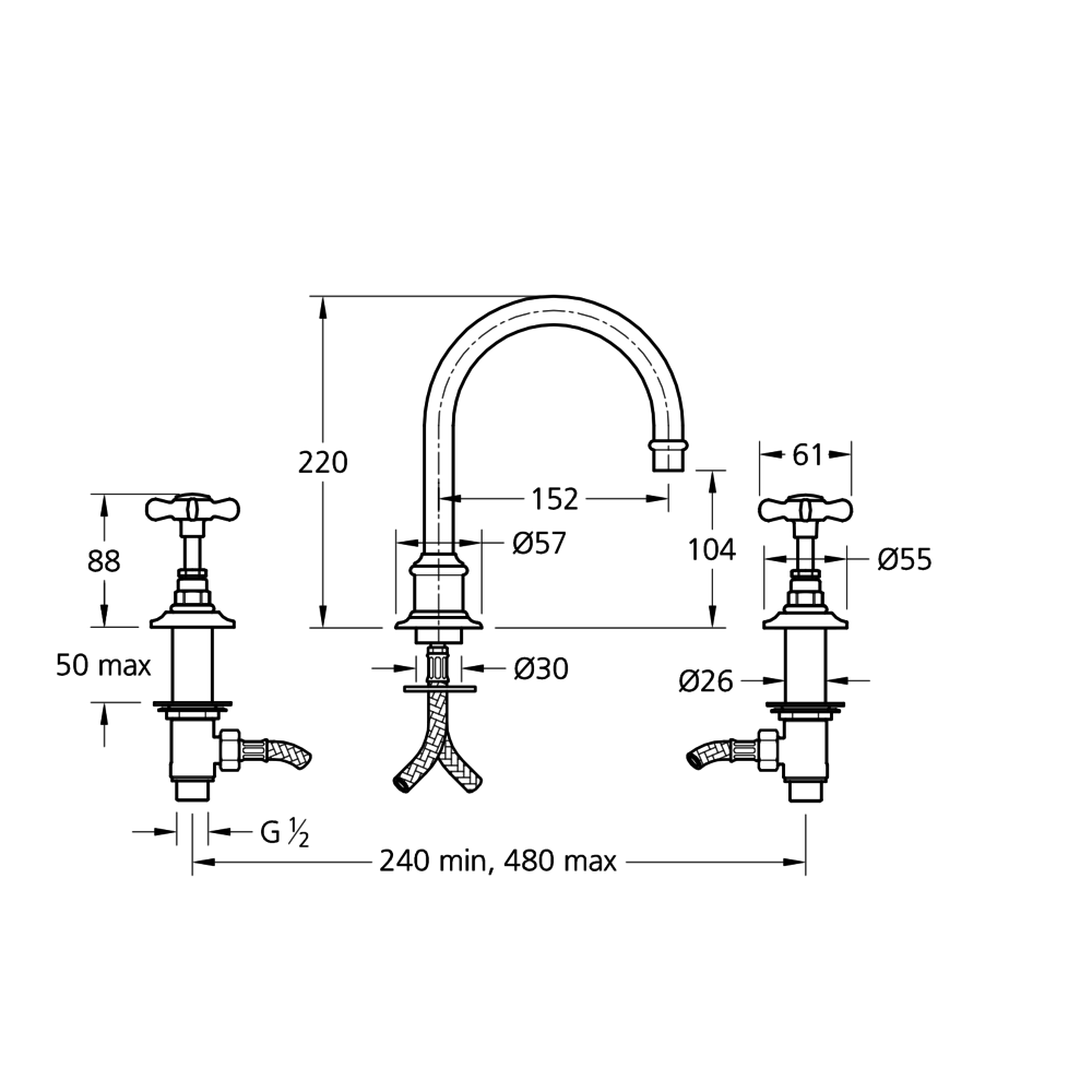 Lefroy Brooks 1900 Classic LB1900 Classic tubular 3-hole basin mixer with crosshead handles LB-1230