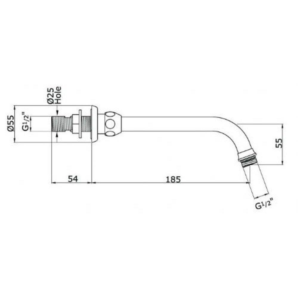 Perrin & Rowe Holdon Holdon 185mm douchearm met multi-function douchekop