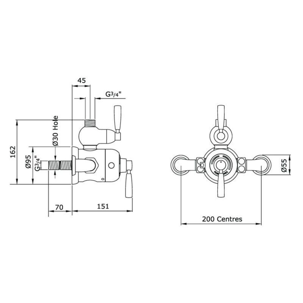 Perrin & Rowe Langbourn Holdon Exposed shower thermo with top return elbow 5850/5897