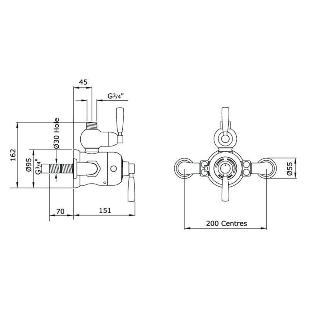 Perrin & Rowe Langbourn Langbourn Opbouw douchethermostaat met aansluitbocht 5850/5897