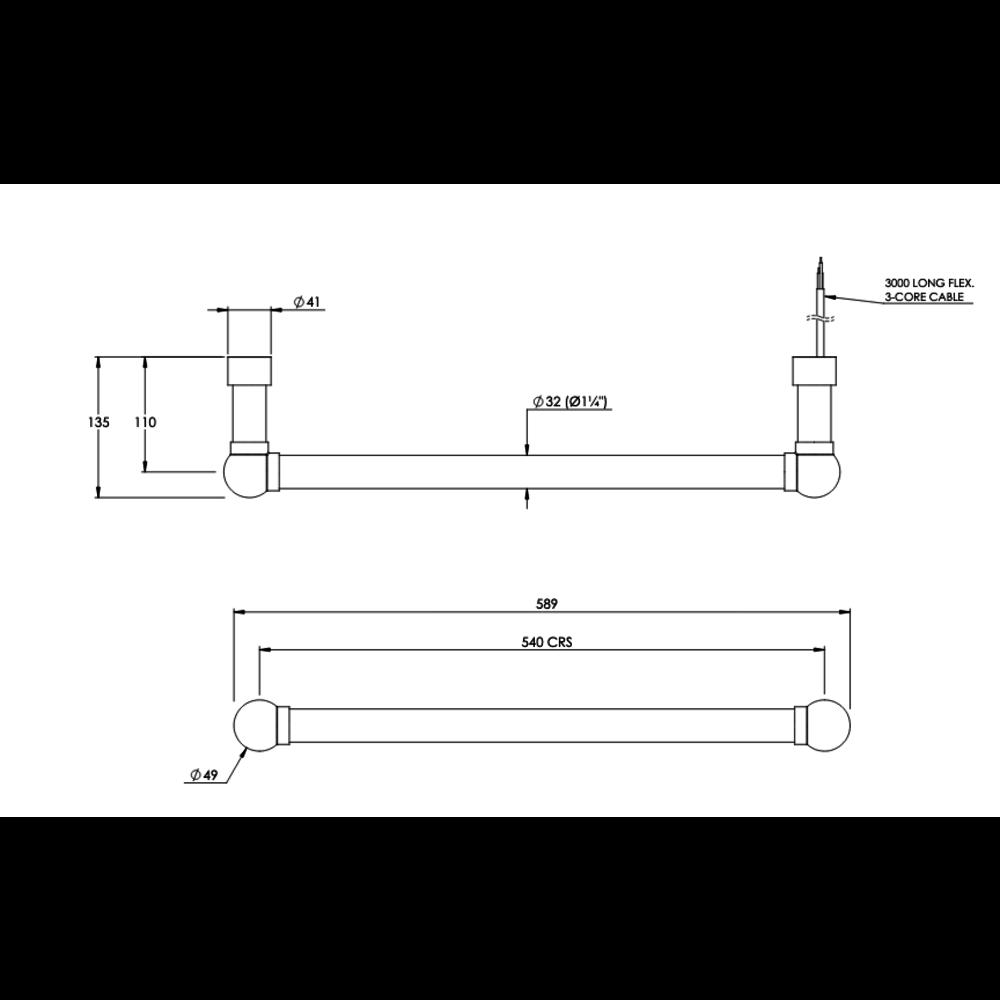 Bard & Brazier B&B Klassieke floating radiator La Fayette FLF2, elektra aansluiting