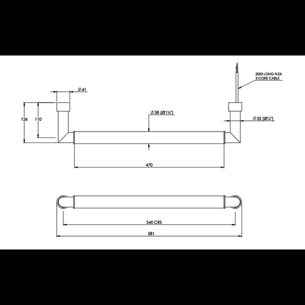 Bard & Brazier B&B Modern design floating rail Carsten FC2- electric; with white bars