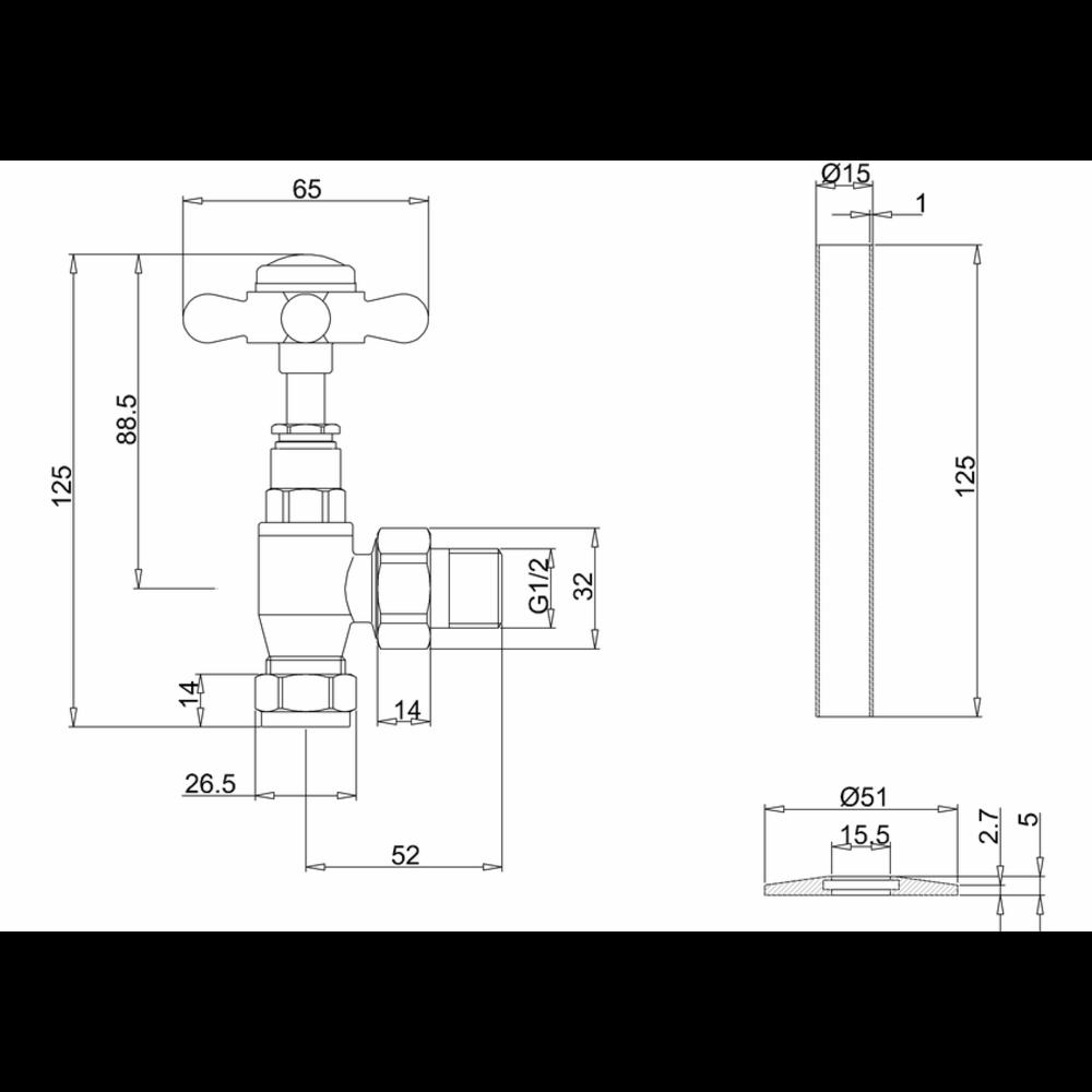 Burlington Klassieke radiatorkraanset R6 met porselein zwart
