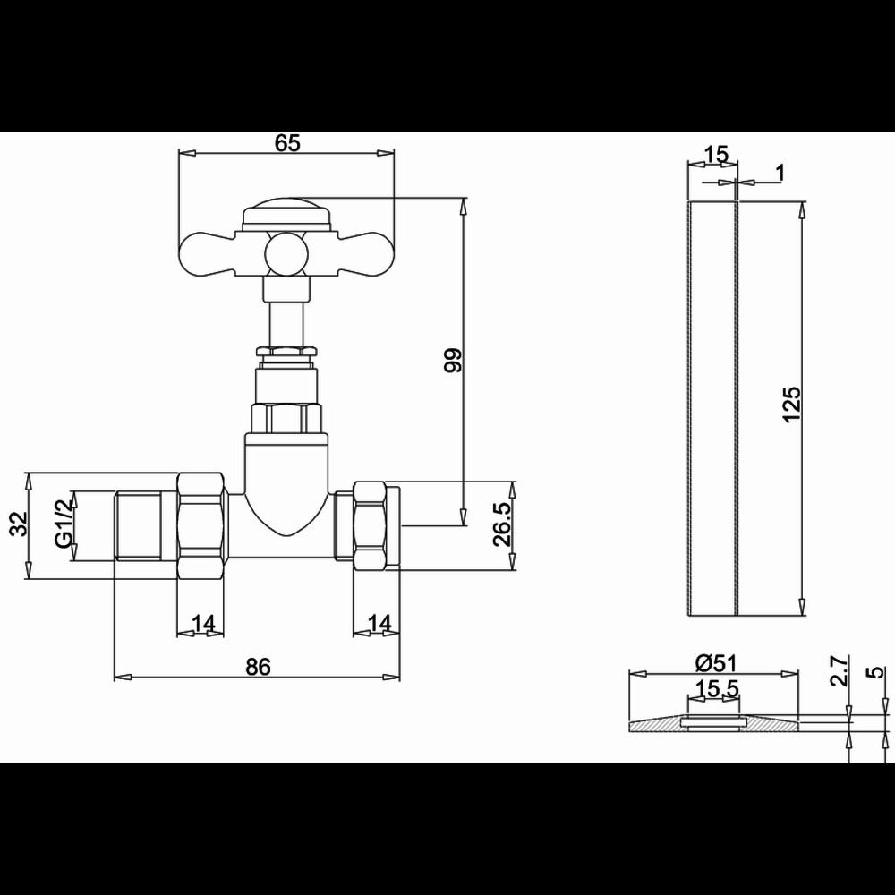 Burlington Klassieke radiatorkraanset R7
